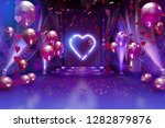 Stock photo valentines day romantic background room interior decorated with festive red balloons valentine 1282879876