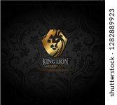 vector emblem with golden lion | Shutterstock .eps vector #1282889923