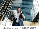 architect in stylish clothes... | Shutterstock . vector #1282899349