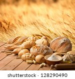 bread and oil on the wooden...   Shutterstock . vector #128290490