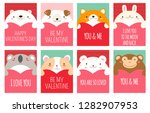 Stock vector be my valentine valentine s day banner background flyer placard with cute animals holiday 1282907953