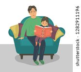 father and daughter reading... | Shutterstock .eps vector #1282911196