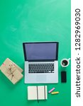 notebook with gifts and laptop... | Shutterstock . vector #1282969030