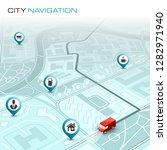 city map navigation route ...   Shutterstock .eps vector #1282971940