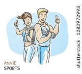 happy young fitness woman an... | Shutterstock .eps vector #1282972993
