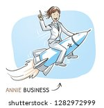 happy business woman riding on...   Shutterstock .eps vector #1282972999