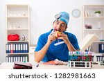 mad doctor working in the...   Shutterstock . vector #1282981663