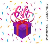 gift lettering sign and box... | Shutterstock .eps vector #1283007019