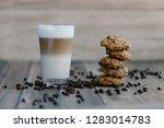 caffe latte macchiato coffee...   Shutterstock . vector #1283014783