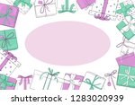 frame with gift boxes. vector... | Shutterstock .eps vector #1283020939