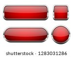 red glass 3d buttons. with... | Shutterstock .eps vector #1283031286