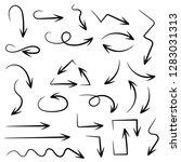 black arrows. set of hand drawn ...   Shutterstock .eps vector #1283031313
