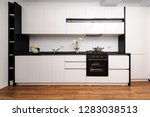 Modern black and white kitchen made in classic style, front view