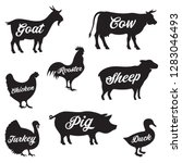 set of butchery logo. farm... | Shutterstock .eps vector #1283046493