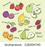 fruit doodles seamless vector | Shutterstock .eps vector #128304740