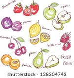 fruit doodles seamless vector | Shutterstock .eps vector #128304743