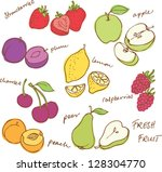 fruit doodles seamless vector | Shutterstock .eps vector #128304770