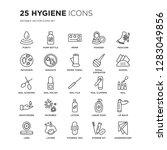 set of 25 hygiene linear icons... | Shutterstock .eps vector #1283049856