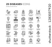 set of 25 diseases linear icons ... | Shutterstock .eps vector #1283057920
