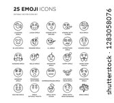 set of 25 emoji linear icons... | Shutterstock .eps vector #1283058076
