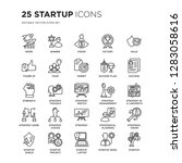 set of 25 startup linear icons... | Shutterstock .eps vector #1283058616