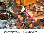 different types of chocolate ... | Shutterstock . vector #1283070973
