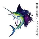 Sailfish Fish On White. Striped ...