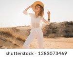 stylish happy beautiful smiling ... | Shutterstock . vector #1283073469