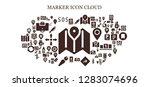 marker icon set. 93 filled... | Shutterstock .eps vector #1283074696