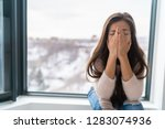 anxiety winter depression woman ... | Shutterstock . vector #1283074936