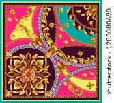 design scarf with golden... | Shutterstock .eps vector #1283080690