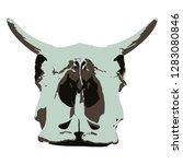 cow skull back view. vector... | Shutterstock .eps vector #1283080846