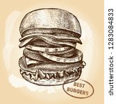 delicious burger with onion... | Shutterstock .eps vector #1283084833