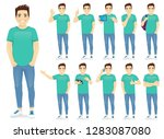 man in casual outfit set with... | Shutterstock .eps vector #1283087080