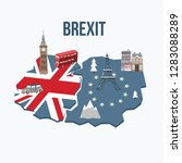brexit concept. flags of the... | Shutterstock .eps vector #1283088289