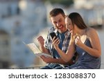 excited tourists finding best...   Shutterstock . vector #1283088370