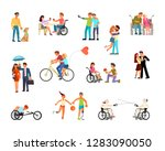 set of disabled people in... | Shutterstock .eps vector #1283090050