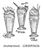 milkshakes with strawberry and... | Shutterstock .eps vector #1283093626