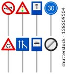 traffic road signs set on a... | Shutterstock .eps vector #128309504