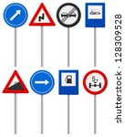 traffic road signs set on a... | Shutterstock .eps vector #128309528