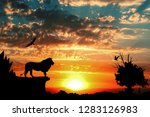 jungle with mountains  old tree ...   Shutterstock . vector #1283126983