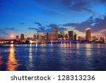 miami city skyline panorama at... | Shutterstock . vector #128313236