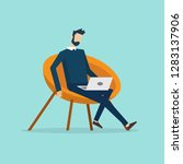 a man is sitting on the sofa... | Shutterstock .eps vector #1283137906