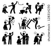 abusive husband helpless wife... | Shutterstock . vector #128314250