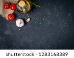 olive oil with spices  garlic ... | Shutterstock . vector #1283168389