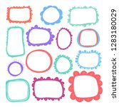 hand drawn cute frames set for... | Shutterstock .eps vector #1283180029