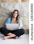 beautiful young woman relaxing... | Shutterstock . vector #1283180083