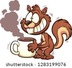 Stock vector caffeinated squirrel shaking and holding a big cup of coffee vector clip art illustration with 1283199076