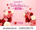 valentines day greeting card on ... | Shutterstock .eps vector #1283228170