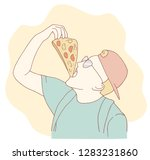 a young guy in a cap eats pizza.... | Shutterstock .eps vector #1283231860